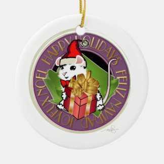 Holiday Christmas Mouse Round Ceramic Ornament