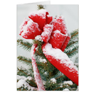 Holiday Christmas Snow Red Bow Spruce Tree Top Card