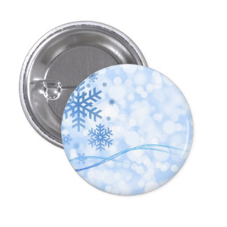 Holiday Christmas Snowflake Design Blue White 1 Inch Round Button