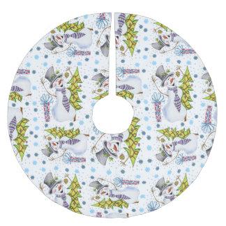 Holiday Christmas Snowman Tree Skirt Fun Pattern Brushed Polyester Tree Skirt