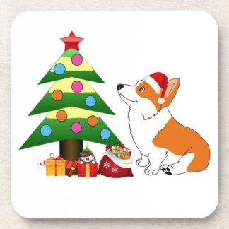 Holiday Corgi Cartoon Drink Coaster