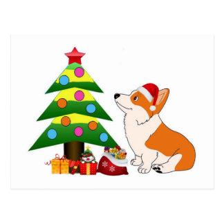 Holiday Corgi Cartoon with Tree Postcard