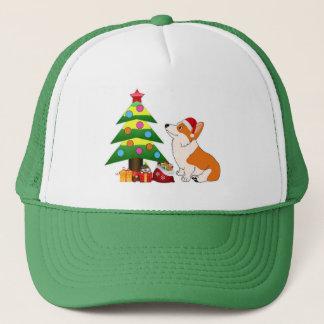 Holiday Corgi Cartoon with Tree Trucker Hat