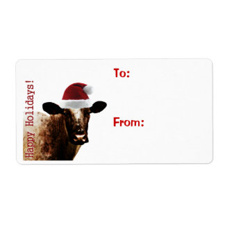 Holiday Cow Gift Labels