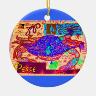 Holiday Crab Collage Ceramic Ornament