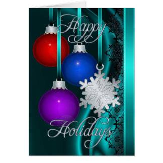Holiday Decorations Teal Silk Silver Card