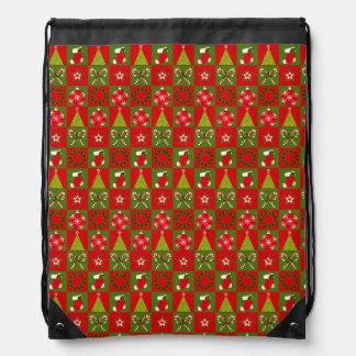 Holiday Decorative Squares Drawstring Bag