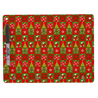 Holiday Decorative Squares Dry Erase Board With Keychain Holder