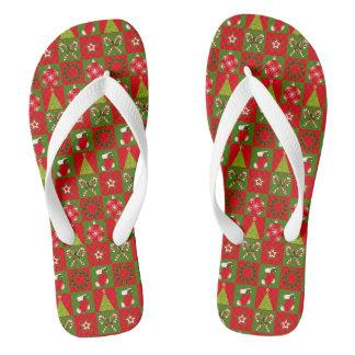 Holiday Decorative Squares Flip Flops