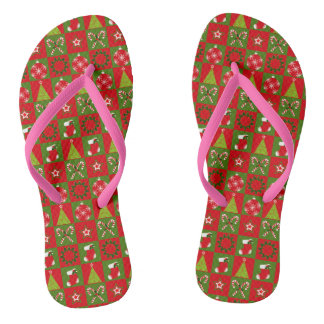 Holiday Decorative Squares Flip Flops