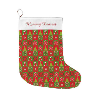 Holiday Decorative Squares Large Christmas Stocking
