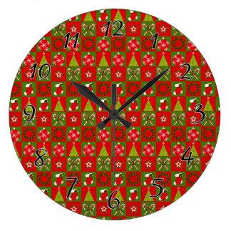 Holiday Decorative Squares Large Clock