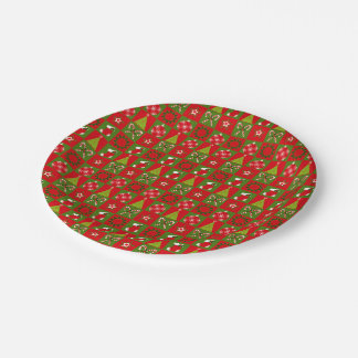 Holiday Decorative Squares Paper Plate