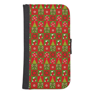 Holiday Decorative Squares Samsung S4 Wallet Case