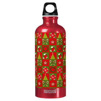 Holiday Decorative Squares Water Bottle