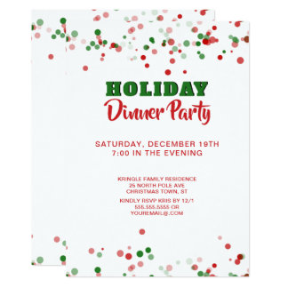Holiday Dinner Party Invitation Red Green White