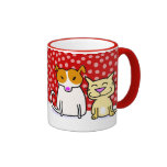 Holiday Dog & Cat in the Snow Ringer Coffee Mug