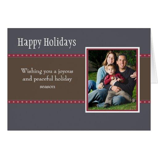 Holiday Dots Folded Card- navy/wine