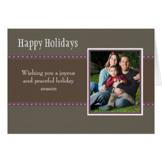 Holiday Dots Folded Card- stone/plum Greeting Card