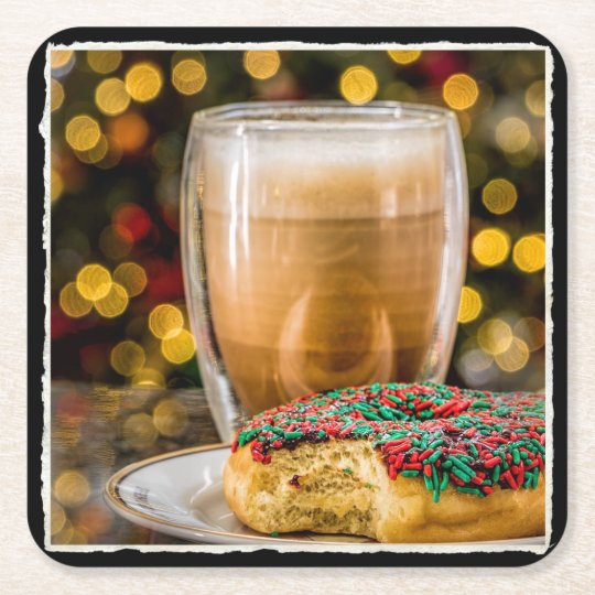 Holiday Doughnut & Coffee Square Paper Coaster