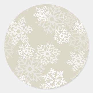 Holiday Ecru Snowflakes Envelope Seal