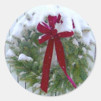 Holiday Evergeen Wreath Christmas Envelope Seals