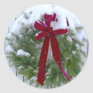 Holiday Evergeen Wreath Christmas Envelope Seals Round Sticker