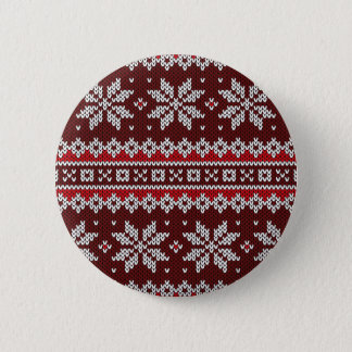 Holiday Fair Isle Knit Pattern 2 Inch Round Button
