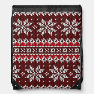 Holiday Fair Isle Knit Pattern Backpacks