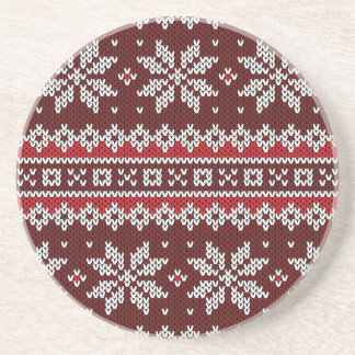 Holiday Fair Isle Knit Pattern Drink Coasters