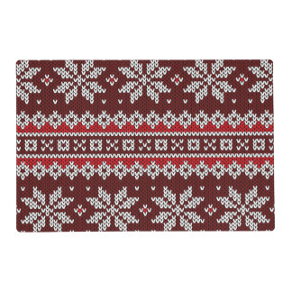 Holiday Fair Isle Knit Pattern Laminated Placemat