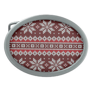 Holiday Fair Isle Knit Pattern Oval Belt Buckles