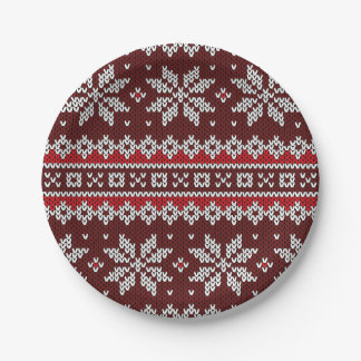 Holiday Fair Isle Knit Pattern Paper Plate