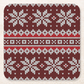 Holiday Fair Isle Knit Pattern Square Paper Coaster