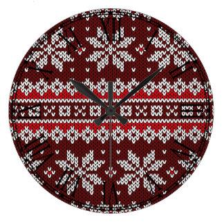 Holiday Fair Isle Knit Pattern Wall Clocks