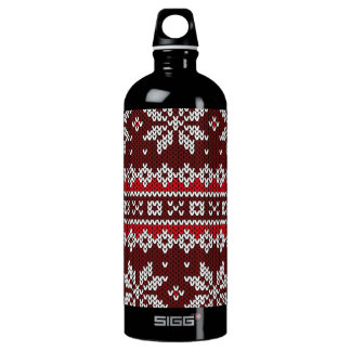 Holiday Fair Isle Knit Pattern Water Bottle