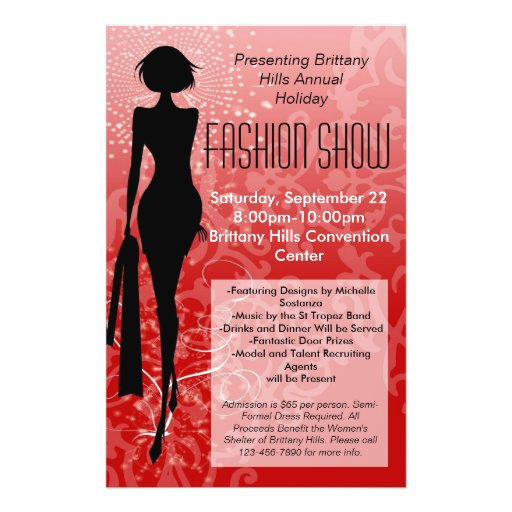 Holiday Fashion Show Flyer, Red Silhouette Swirl