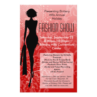 Holiday Fashion Show Flyer, Red Silhouette Swirl Custom Flyer