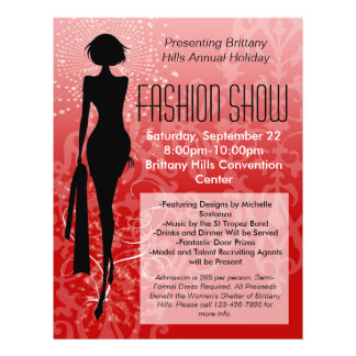 Holiday Fashion Show Flyer, Red Silhouette Swirl Flyers