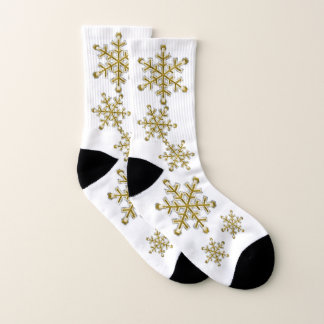 Holiday Faux Gold Snowflakes Socks