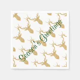 Holiday Festive Gold Reindeer Head Disposable Napkins