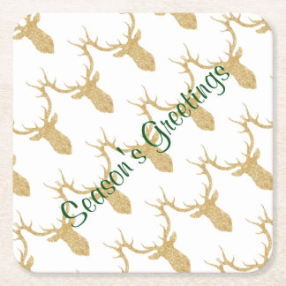 Holiday Festive Gold Reindeer Head Square Paper Coaster