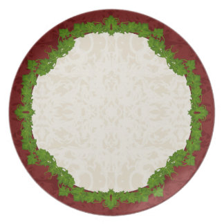 Holiday Fleur and Vines Melamine Plate