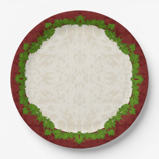 Holiday Fleur and Vines Paper Plate