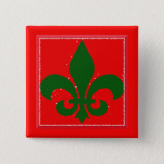 Holiday Fleur De Lis Button
