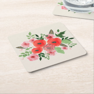 Holiday Floral Paper Coasters