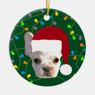 Holiday Frenchie Ceramic Ornament