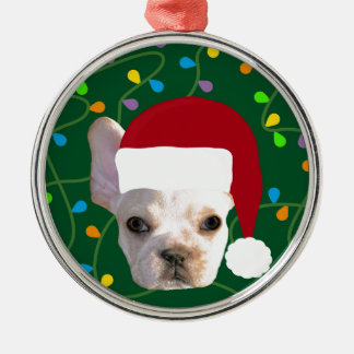 Holiday Frenchie Metal Ornament