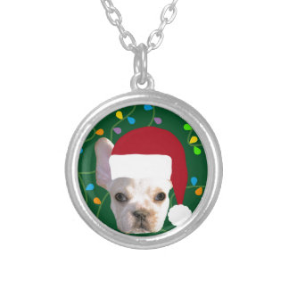 Holiday Frenchie Silver Plated Necklace