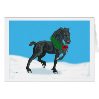 Holiday Friesian Horse Thanks Note Card